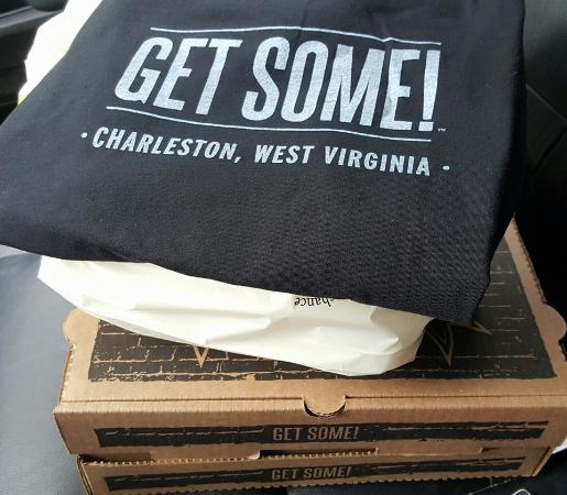 Charleston, WV: I got lots to go because it is awesome food, and a cool shirt.