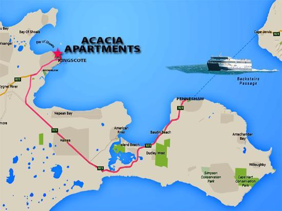Kangaroo Island Acacia Apartments: Acacia - Apartemnts location