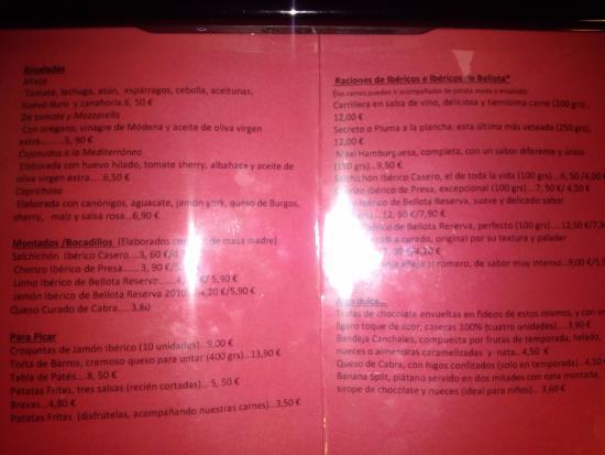 El Escorial, Spanyol: Carta Canchales, donde se puede observar los precios de los bocatas y montados...