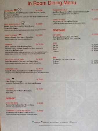 Room service menu picture of swiss belhotel tuban kuta for W hotel in room dining menu singapore
