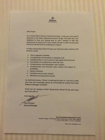 The welcome letter from the hotel manager picture of hilton hilton queenstown resort spa the welcome letter from the hotel manager spiritdancerdesigns Choice Image