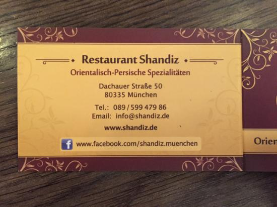 Visitenkarte Picture Of Restaurant Shandiz Munich