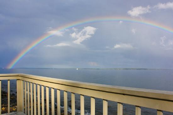 Lincolnville, ME: rainbow from our oceanfront deck
