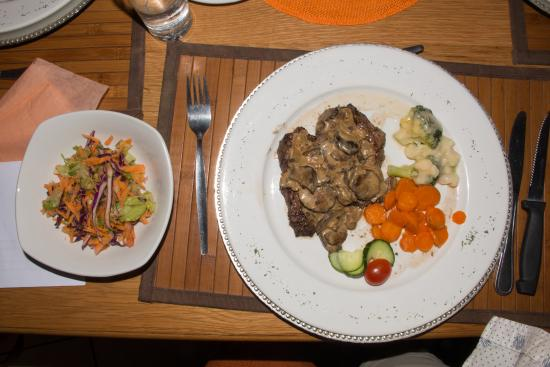 Keetmanshoop, Namibia: Oryx steak with Kalahari truffles, a once a year and very rare wild fungus.
