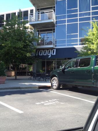 Raaga: Located in a strip mall. Limited parking out front but a parking deck is close by.