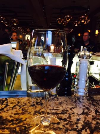 J Alexander's Restaurant: My first glass of wine when it arrived. Terrible pour for the price.