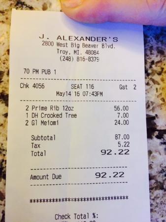 J Alexander's Restaurant: Our tab
