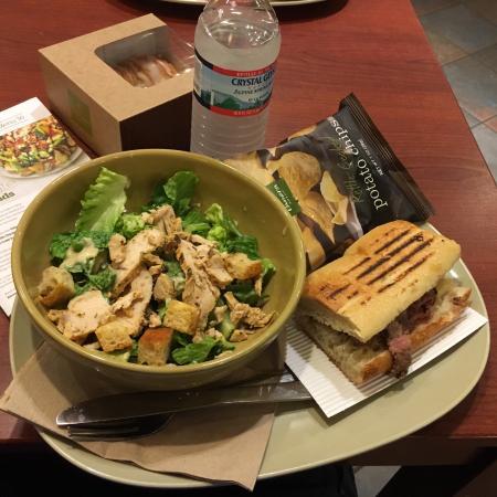 Panera Pick 2 Chicken Caesar Salad and Steak and white cheddar panini - Picture of Panera Bread ...