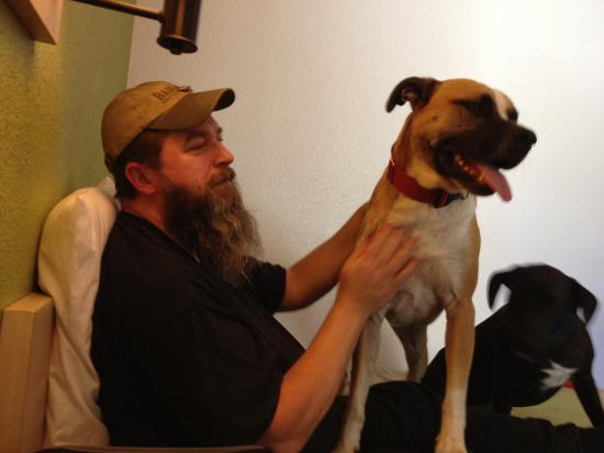 Motel 6 Tumwater - Olympia: My husband sitting on the bed with both dogs