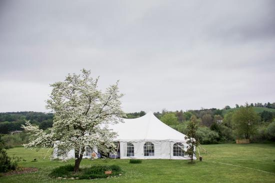 Reception tent in the front yard at MiddleRidge Bed and Breakfast (Photo HannahMalloy Photograph