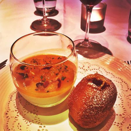 Chez Bruce: Mandarin panna cotta with cranberry and custard doughnut