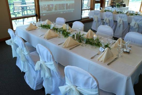 Apple Tree Golf Resort: Rehearsal dinner - our decoratorations and chair covers