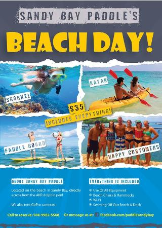 Sandy Bay Paddle Flyer For Our 35 Beach Day All Inclusive Deal