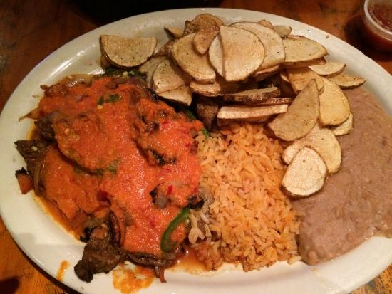 Amelia's Cocina Mexicana: Bistek A La Mexicana - beef was awesome but potatoes not at all tasty just very plain