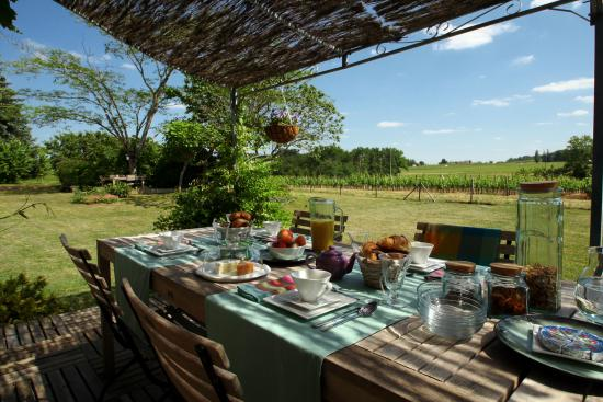 Les Salles-De-Castillon, Frankreich: Summer breakfast in the garden