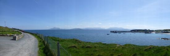 Panorama taking in approach to restaurant (left) to Clare Island harbour with view of the Mayo c