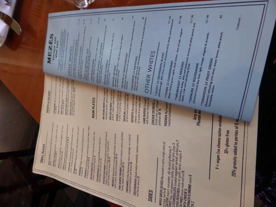 Mezes Wine Bar & Greek Kitchen : menu