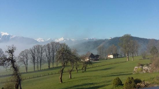 Pension Haus Maria: Morning mist in the Alps. Stunning view from the balcony.