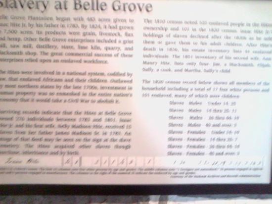 Belle Grove Plantation: Slave prices