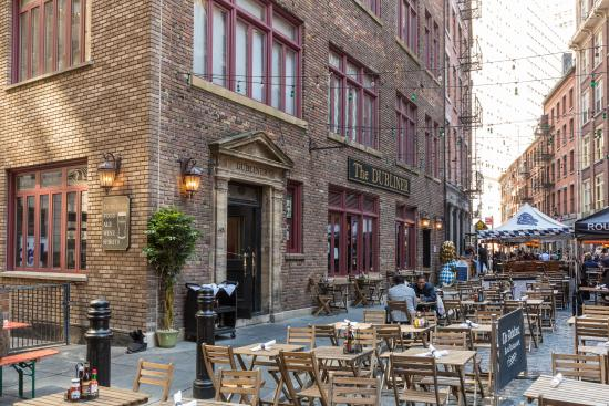 A shot of The Dubliner's outdoor seating area