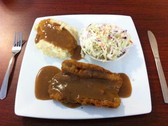 Abingdon, VA: Chicken fried steak with mashed potatoes and brown gravy with cole slaw