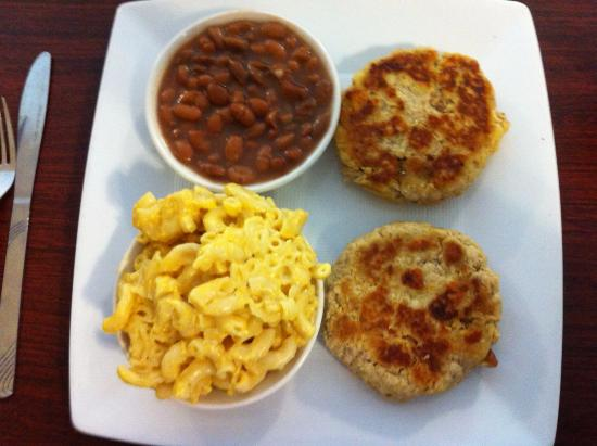 Abingdon, VA: Salmon cakes with brown beans and mac and cheese