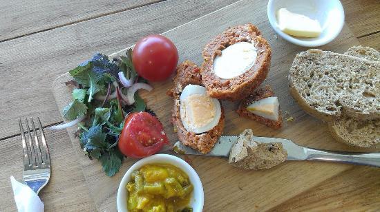 Instow, UK: chorizo and pork scotch egg platter