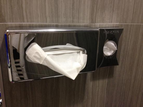 Science Hotel: napkins in the bathroom