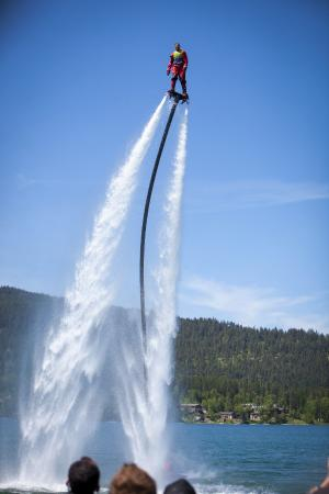 Flyboard of Montana.: TJ did his own routine after we asked (begged)... So awesome