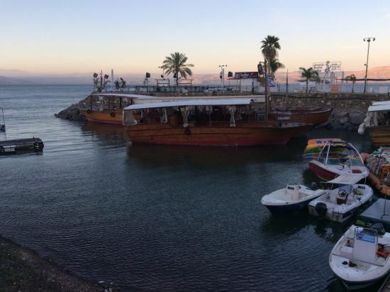 Casa Nova Pilgrim Guest House: From promenade on the shore of Sea of Galilee, near Casa Nova Guest House