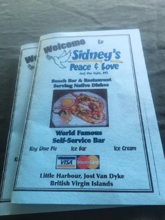 Sidney's Peace and Love : Sydney's Menu Front