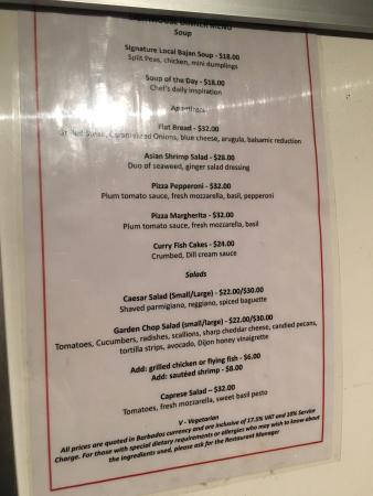 Saint Michael Parish, Barbados: Menu