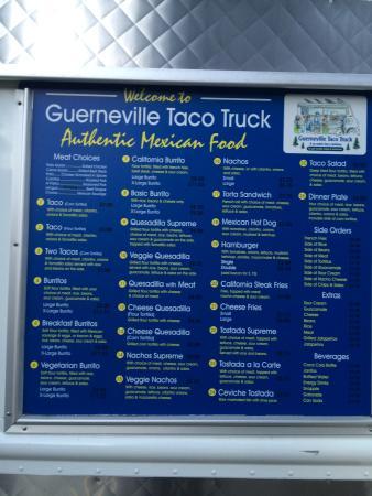 Guerneville Taco Truck Menu