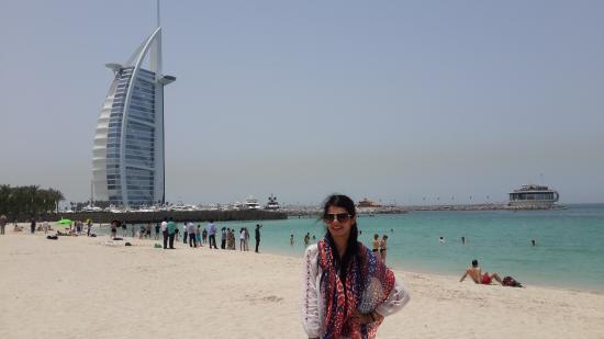 Burj Al Arab In The Background On Jumeirah Beach