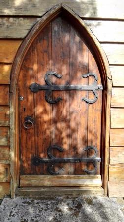 St Peters Anglican Church : The wonderful wooden door to the church.