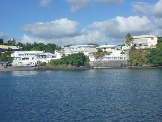 Dzaoudzi, Mayotte: View of hotel from ferry
