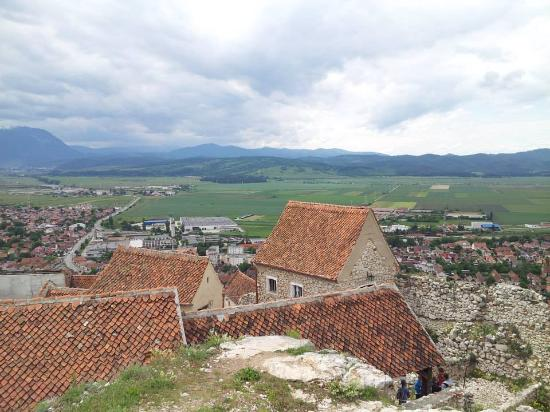 Town of Rasnov below with citadel village in foreground.