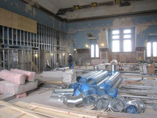 Richardson Olmsted Campus: Former chapel in process of renovation as a banquet/bridal space.