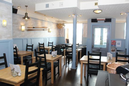 Bright seaside themed restaurant/cafe