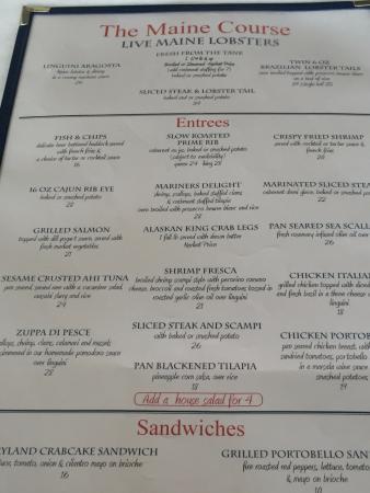 Kingston, Nowy Jork: menu