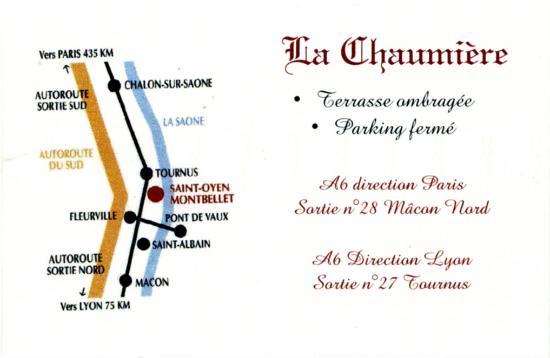 La Chaumiere Carte De Visite Verso