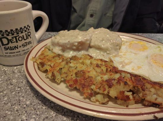 101 Diner: Biscuits, Gravy, hash browns and eggs