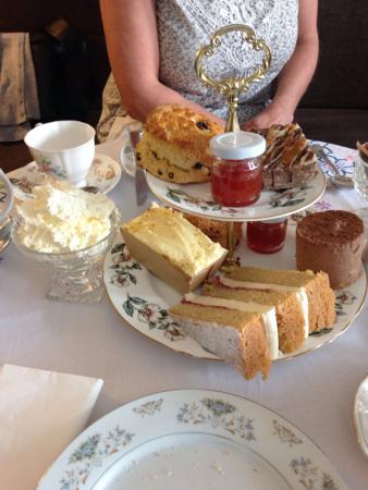 Stocksfield, UK: Scones with plum jam & cream, Chocolate cheesecake, Victoria sponge, twixcake & ginger cake