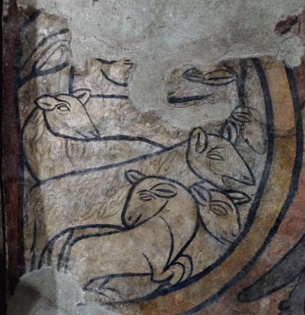 Chiesa Di Sant'ansano E Cripta Di Sant'isacco: le pecorelle felici nell'ovile, particolare dell'affresco dell'XI secolo con il miracolo del mon
