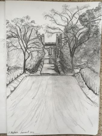 Claremont landscape garden graphite pencil drawing of belvedere which i did during my visit