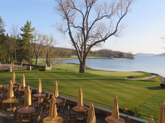 The Otesaga Resort Hotel: View of the 18th green of the Leatherstocking Golf course.