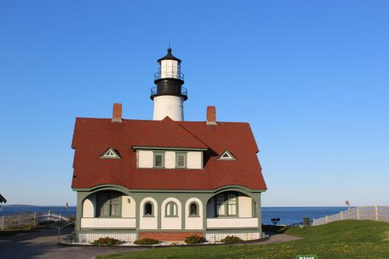 Cape Elizabeth, ME: Frontal view of the lighthouse made on a bright, sunny day.