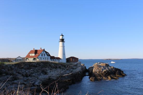 Cape Elizabeth, ME: Side view of the lighthouse made on a bright, sunny day.