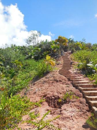 Praslin, Seychellerna: dernière montée au point de vue