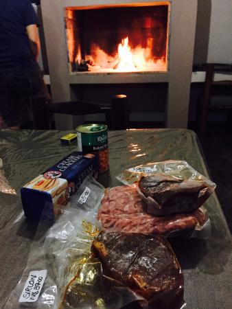 Omaruru, Namibia: The meat and the fireplace.